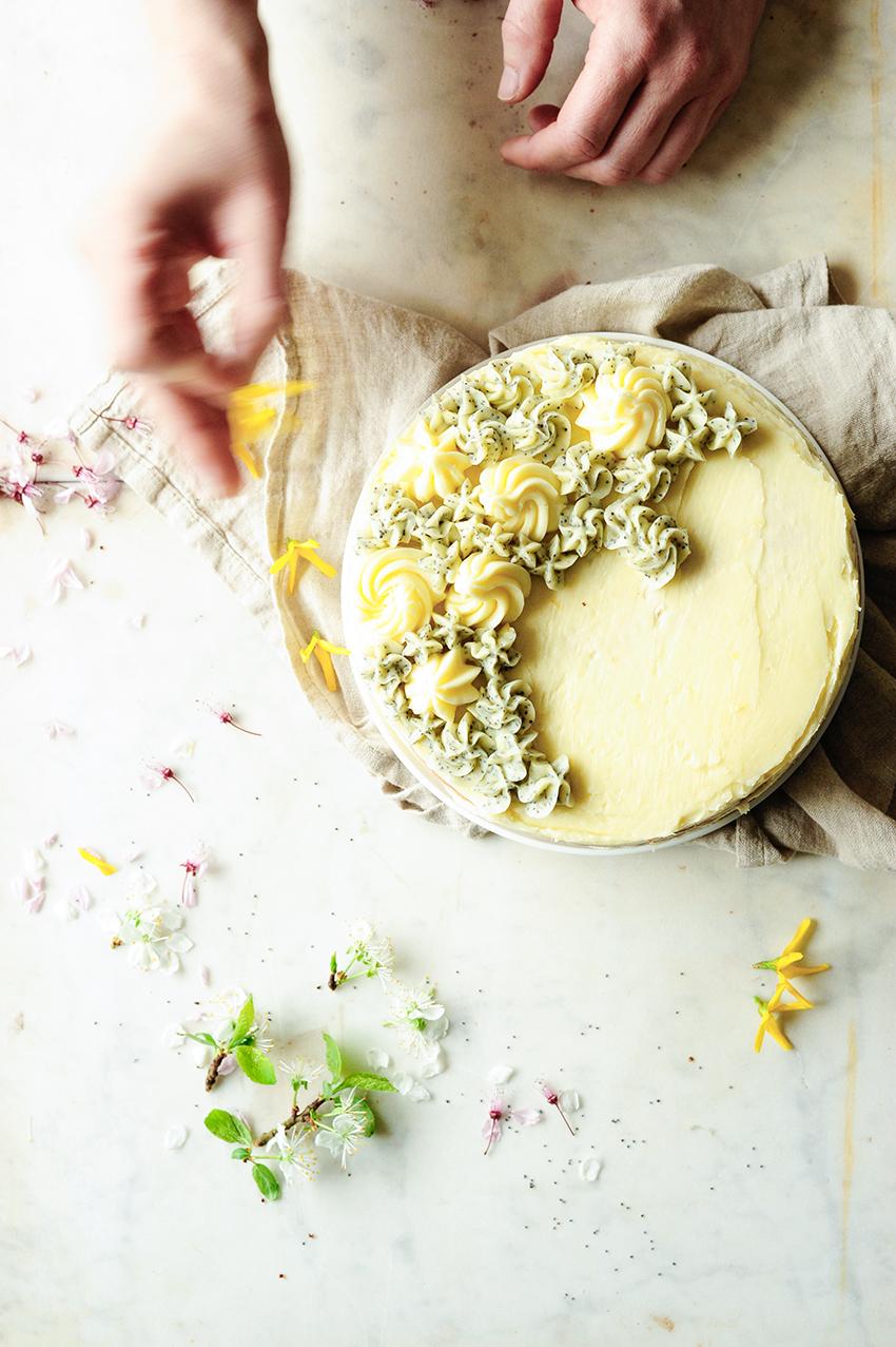 serving dumplings   Spring lemon poppy seed cake
