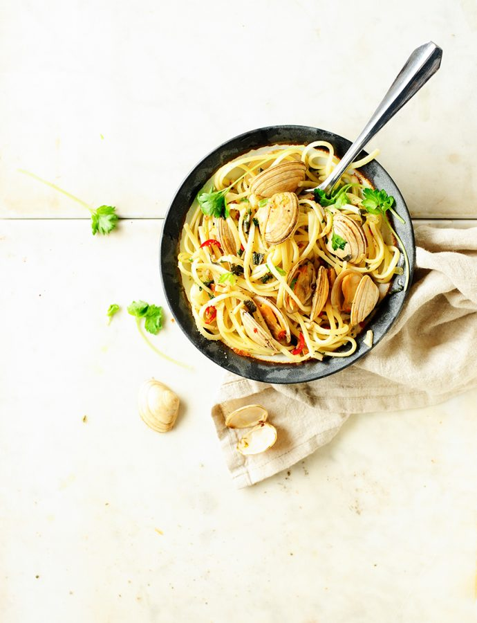 Pasta alle vongole with sage butter sauce