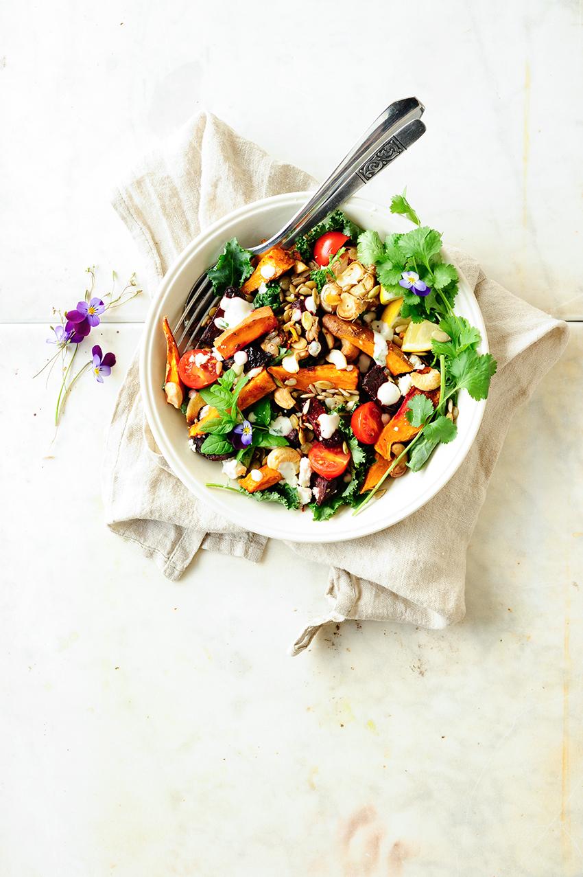 Salatka z soczewicy i pieczonych burakow z batatami 1