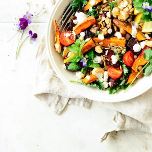 Lentil salad with roasted beets and sweet potato