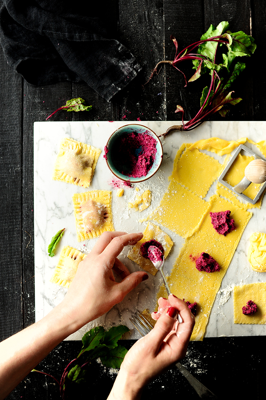Baby beets and goat cheese ravioli 1