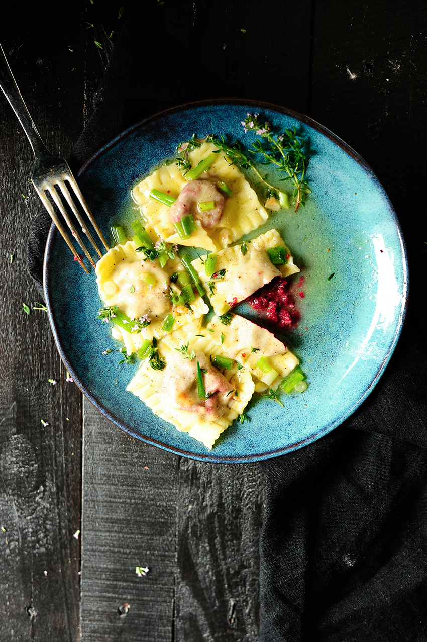 Baby beets and goat cheese ravioli 2