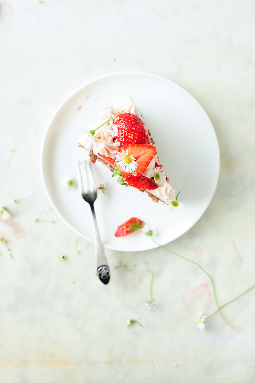 serving dumplings | Chocolate cake with strawberry mascarpone frosting