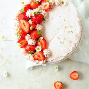 Chocolate cake with strawberry mascarpone frosting