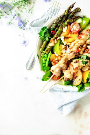 Nectarine and peanut chicken salad
