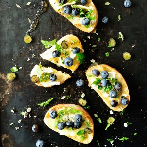 Blueberry brie bruschetta with elderflower dressing