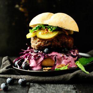 Jalapeño blueberry sauce beef burger