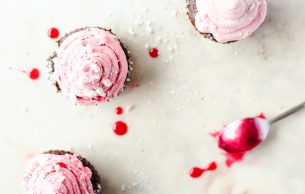 Chocolate cupcakes with cranberry buttercream