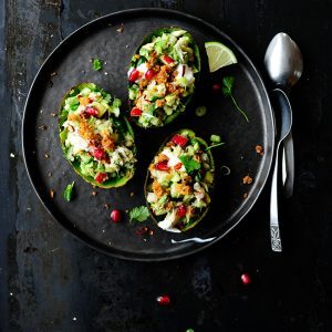 Smoked mackerel & crunchy vegetables stuffed avocados