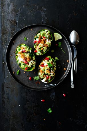 Smoked mackerel & crunchy vegetables stuffed avocados