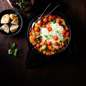 Cheesy baked pasta with roasted vegetables