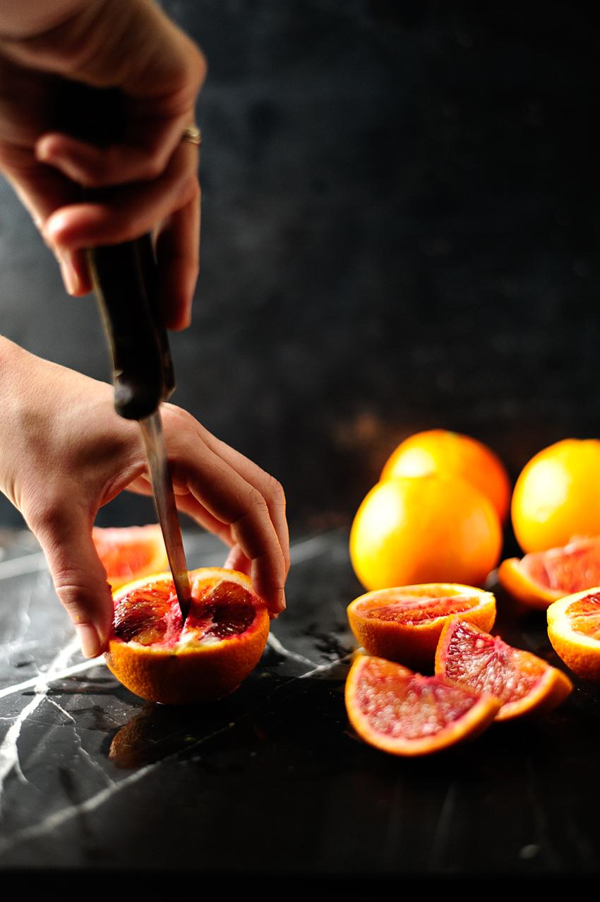 serving dumplings | Zalm met za'atar en bloedsinaasappel