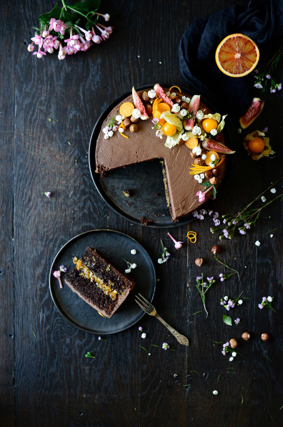 serving dumplings | Chocoladecake met sinaasappel en vijgen