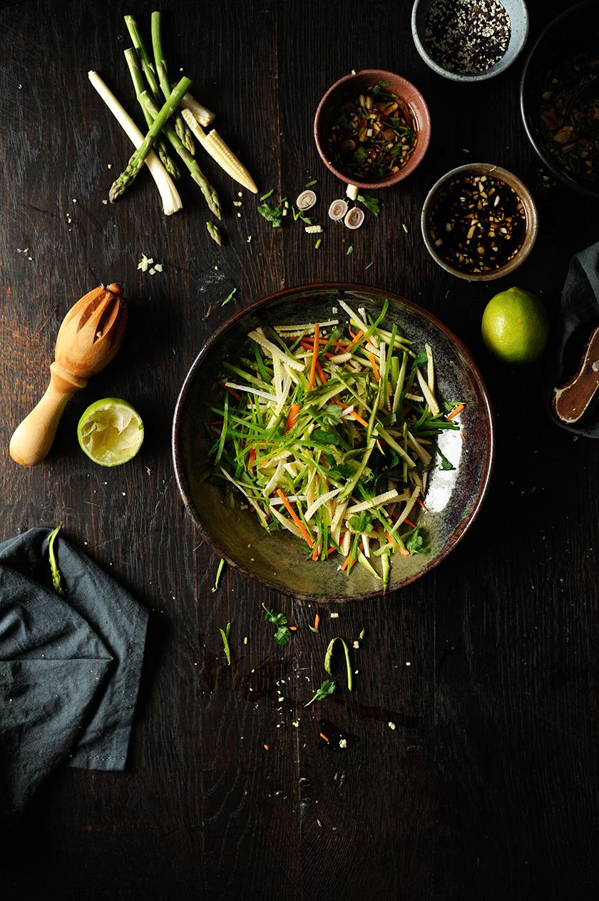 serving dumplings   Asian noodle salad with lamb satay