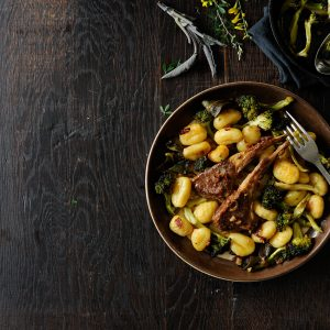 Roasted broccoli with gnocchi and lamb chops