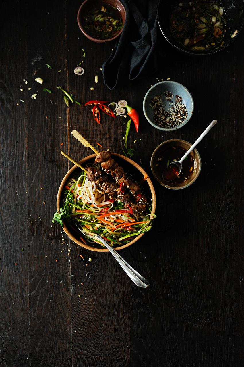 serving dumplings | Asian noodle salad with lamb satay