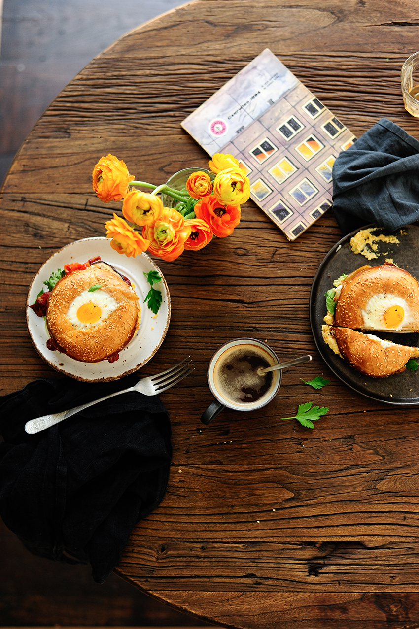 serving dumplings | Bagel egg in a hole with hummus and roasted veggies