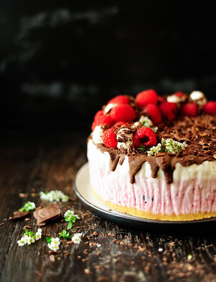 Raspberry chocolate ice cream cake