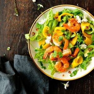 Fajita shrimps and rum pickled mango salad with honey lime dressing