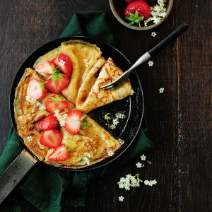 Strawberry elderflower crepes