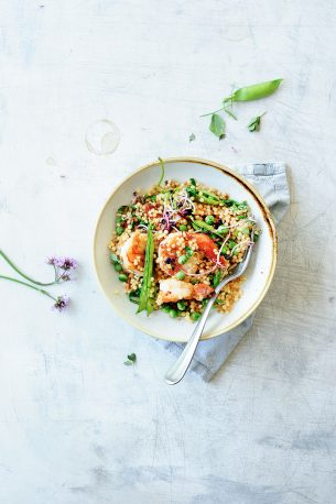 Pearl couscous with shrimps and fresh peas
