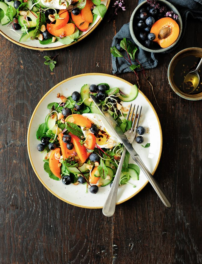 Apricot and blueberry summer salad with burrata
