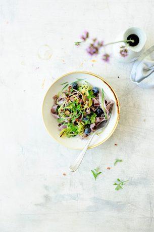 Blueberry pasta with zucchini