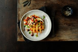 Potato waffles with roasted pumpkin and chanterelles