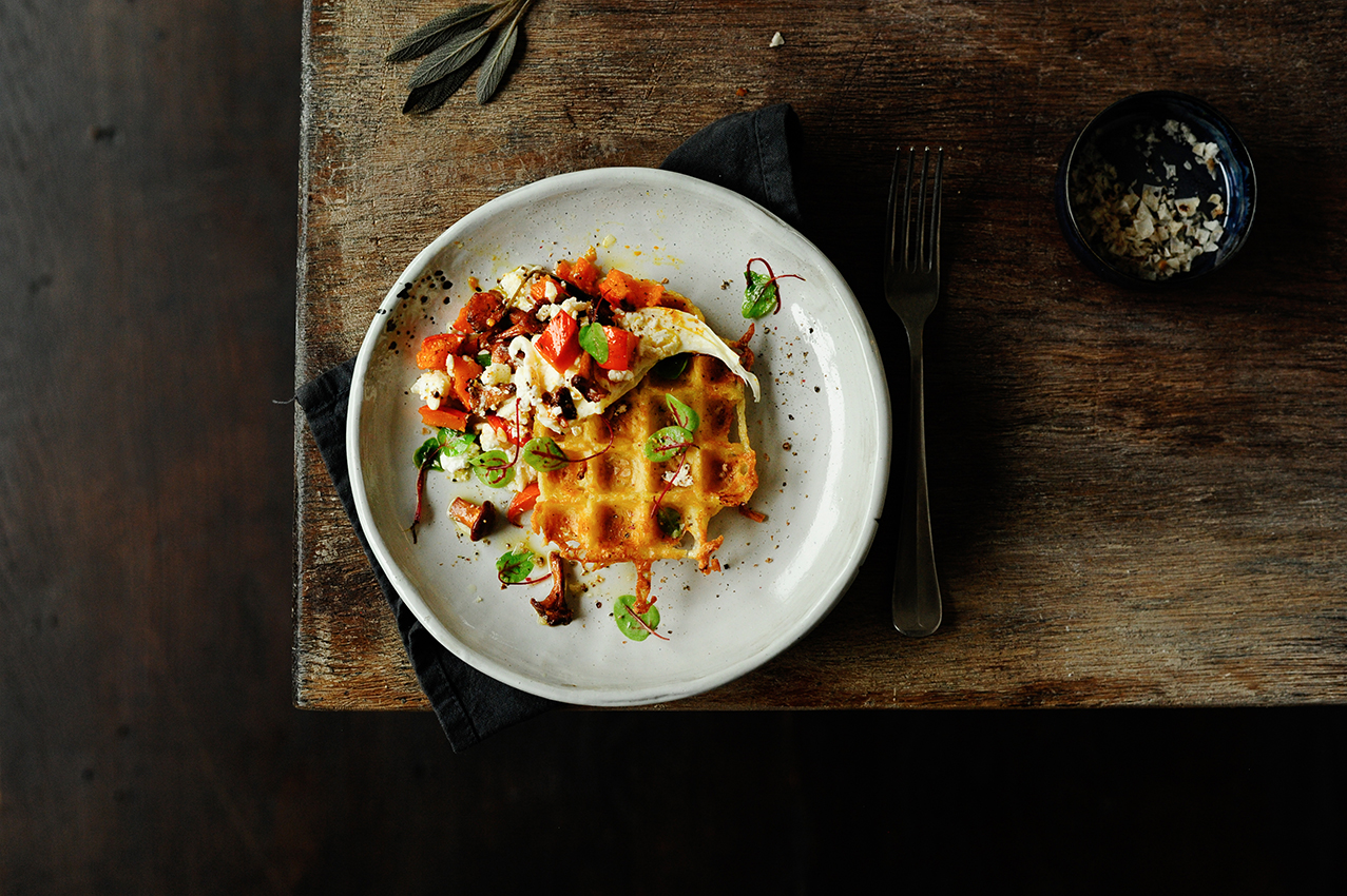 serving dumplings | Potato waffles with roasted pumpkin and chanterelles