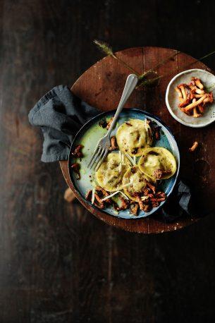 Pulled chicken ravioli with sautéed chanterelles