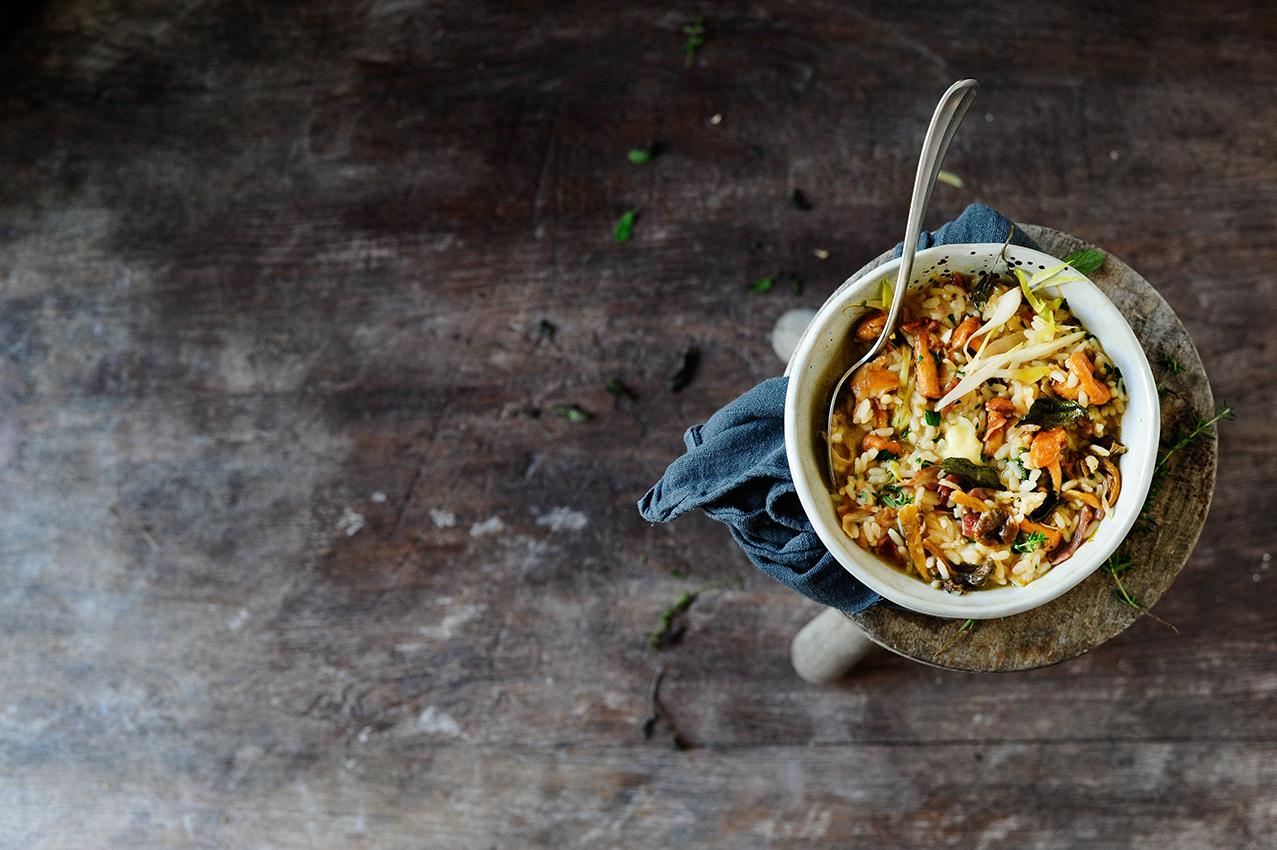 serving dumplings | Risotto met witloof en paddenstoelen