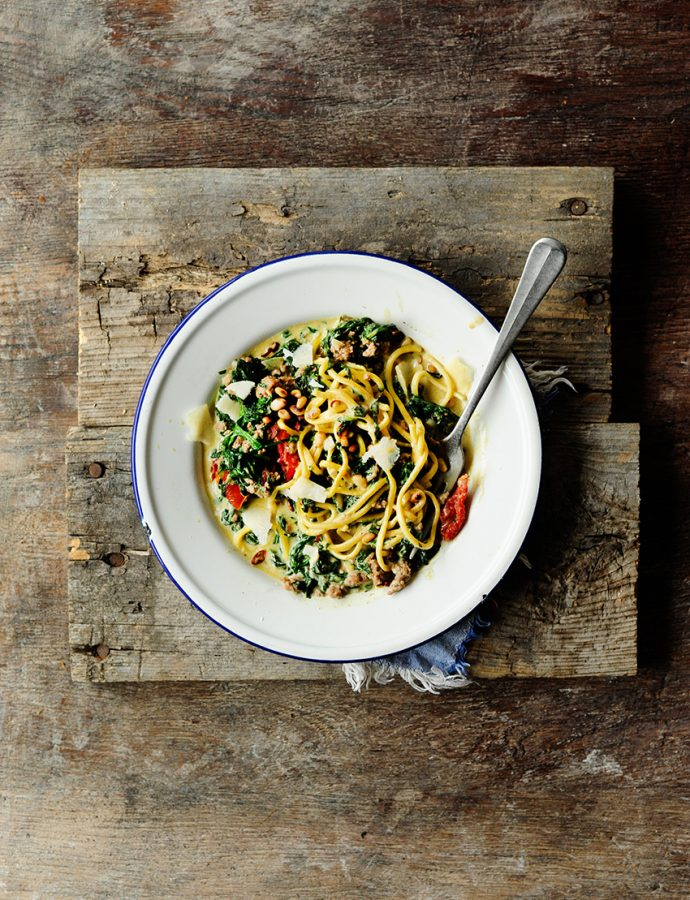 Creamy spinach and beef pasta