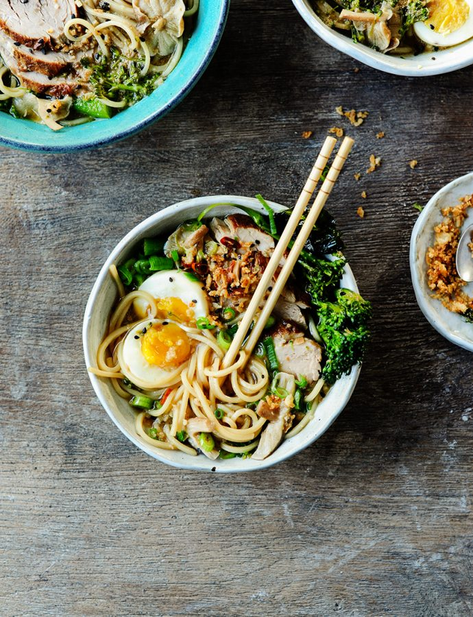 Easy pork Ramen with broccolini