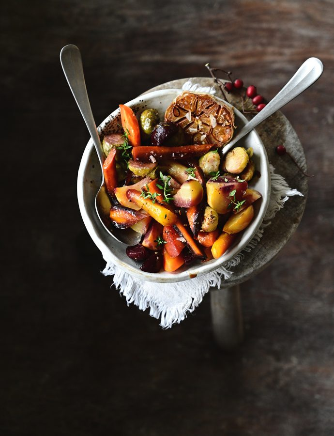 Balsamic roasted vegetables with agave syrup