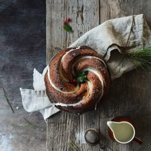 Gingerbread and vanilla marble bundt cake with orange glaze