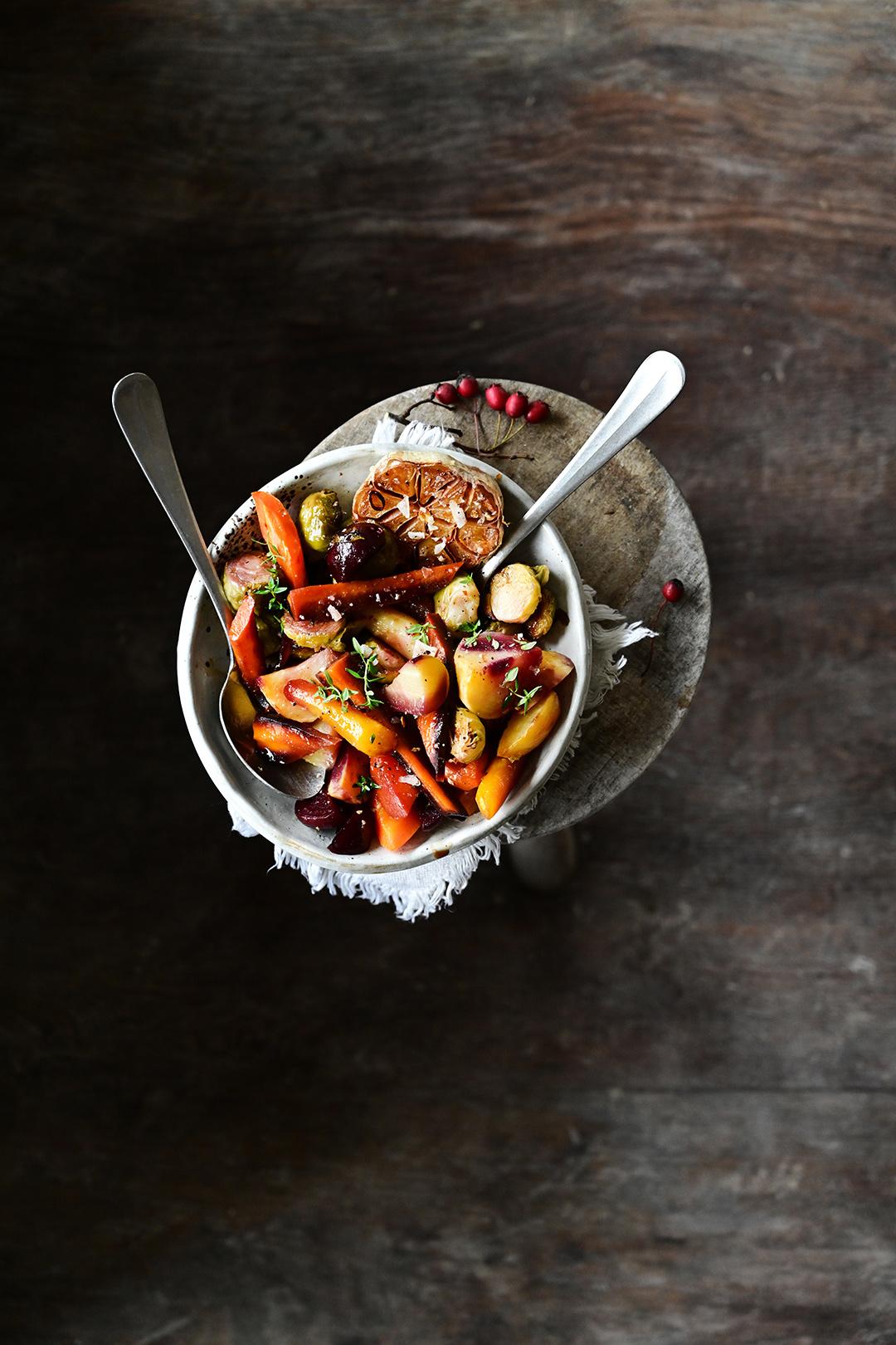 serving dumplings | Pieczone warzywa w słodkim sosie