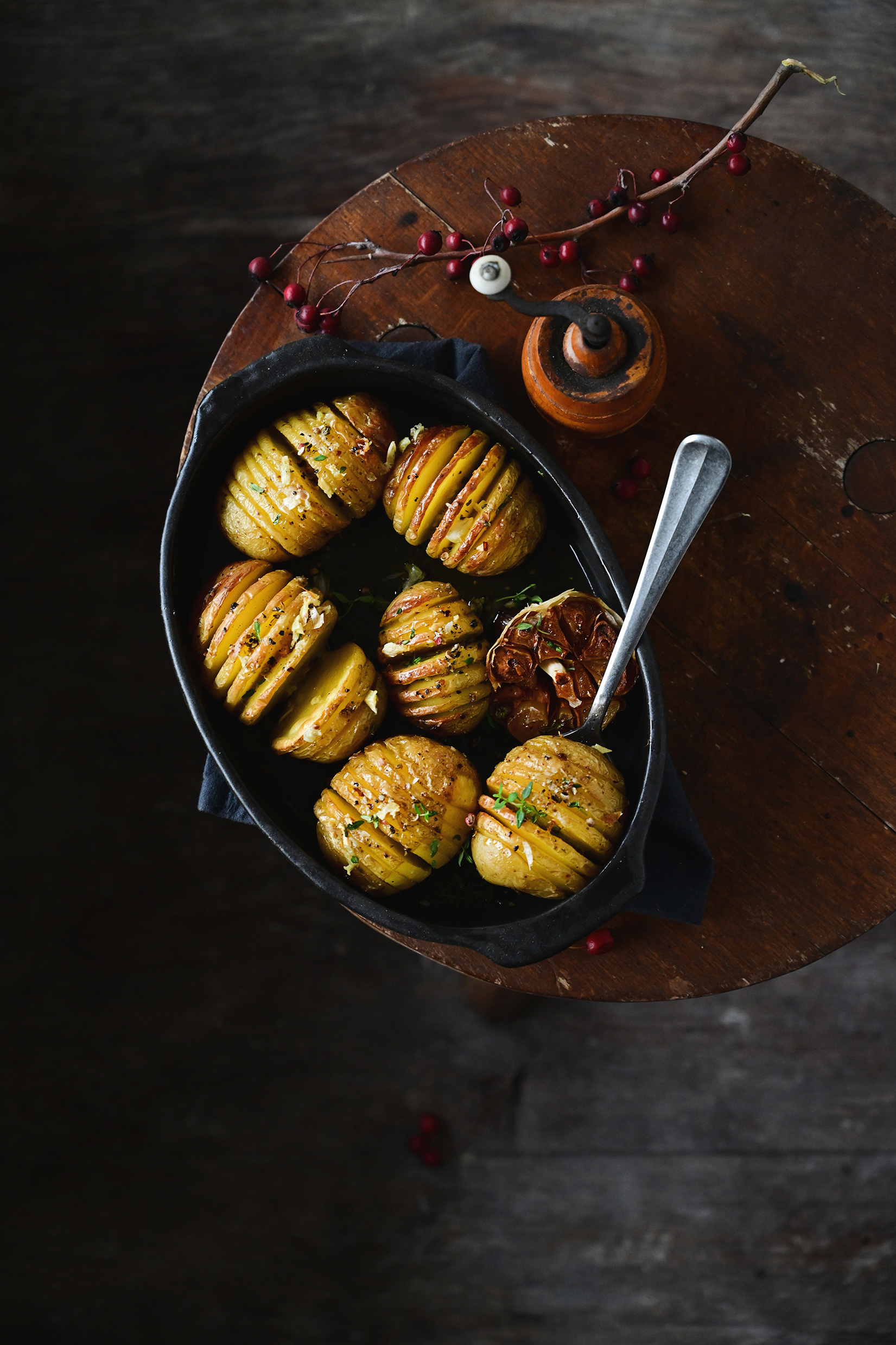 serving dumplings | Buttery Hasselback potatoes