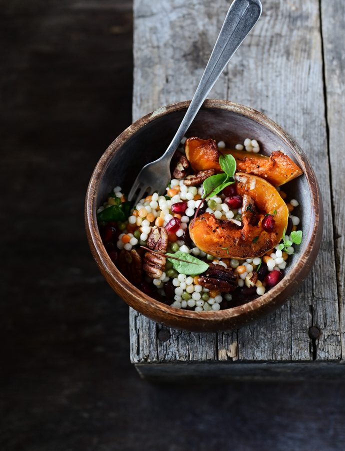 Pearl couscous and roasted pumpkin salad with pomegranate and pecans