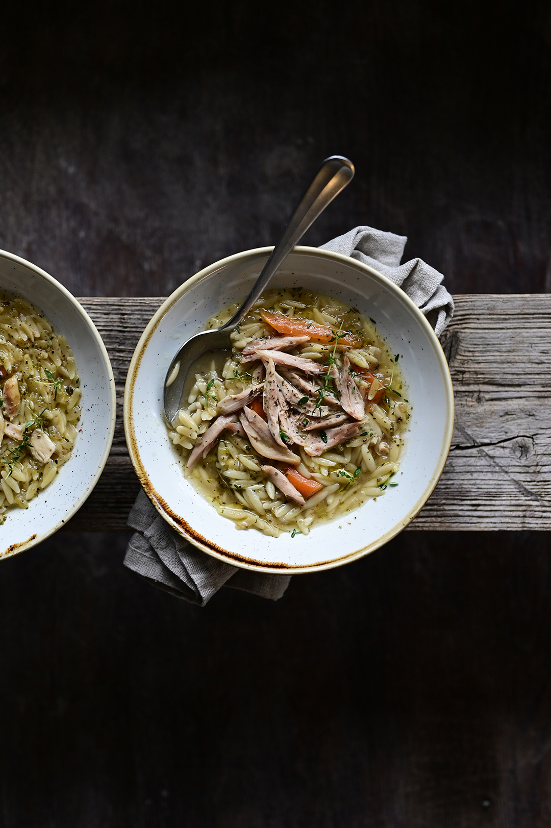 serving dumplings | chicken soup with orzo
