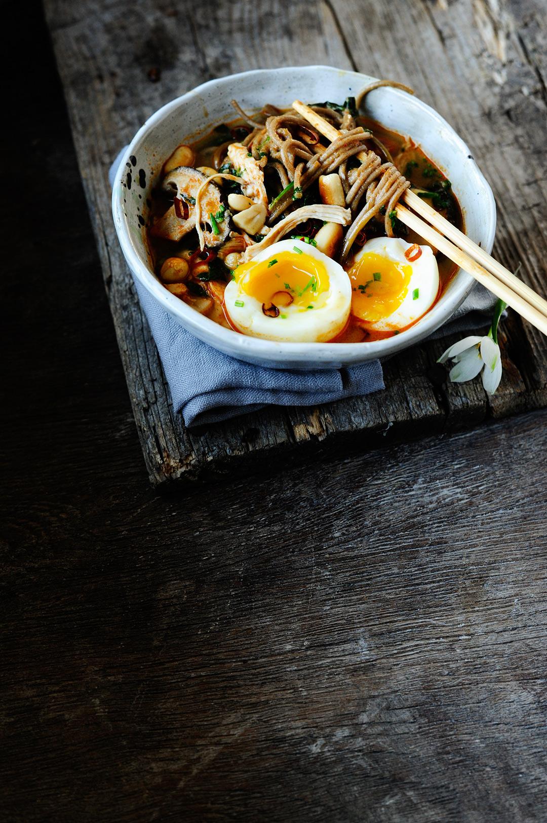 serving dumplings | Chicken miso ramen with peanut butter