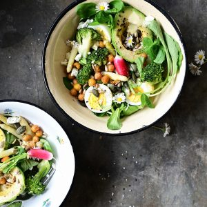 Asparagus and broccoli spring salad with lemon honey dressing