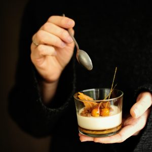 Panna cotta with cookie milk and salted caramel