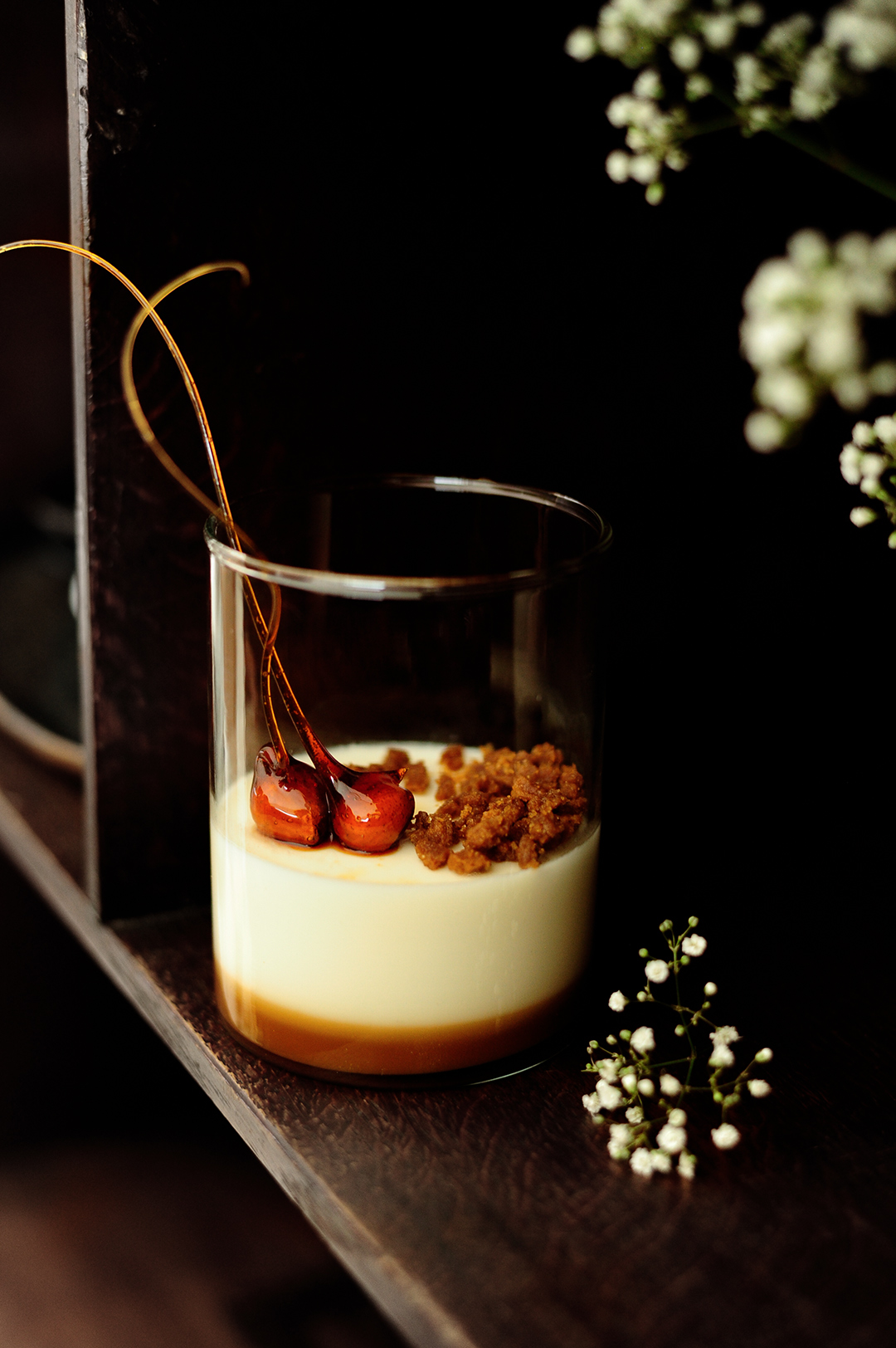 serving dumplings | Panna cotta with cookie milk and salted caramel