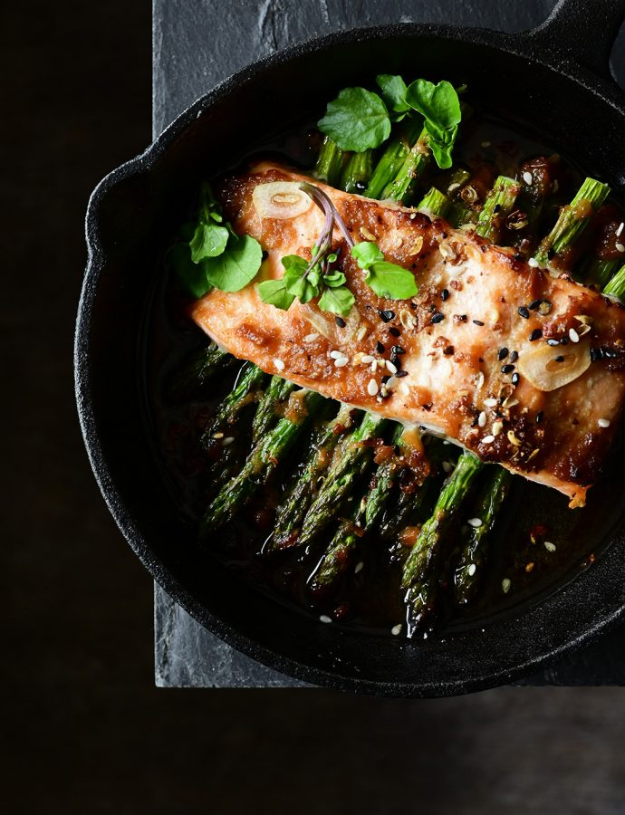 Miso roasted salmon with asparagus