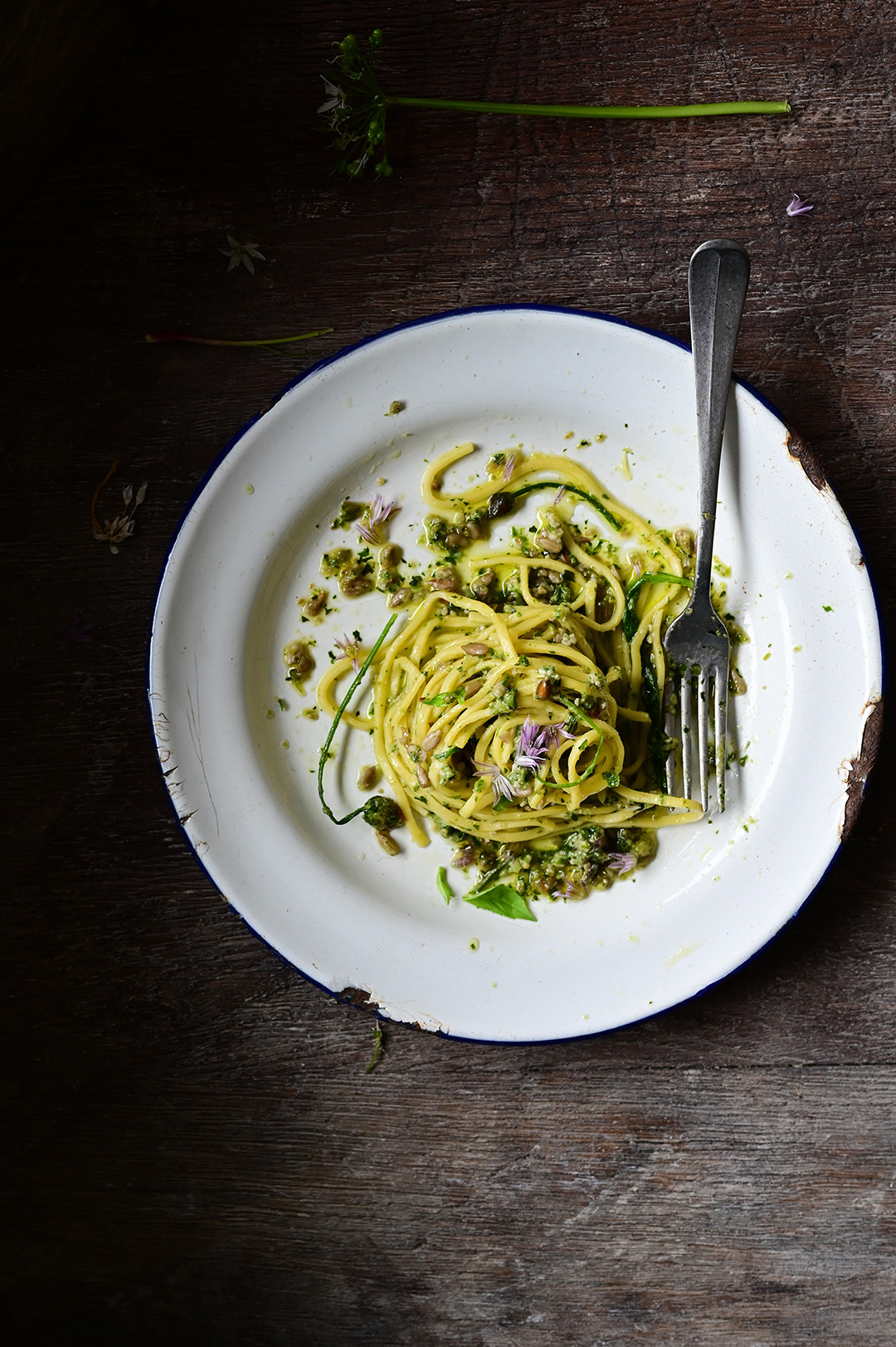 serving dumplings | Spring pasta with wild garlic pesto
