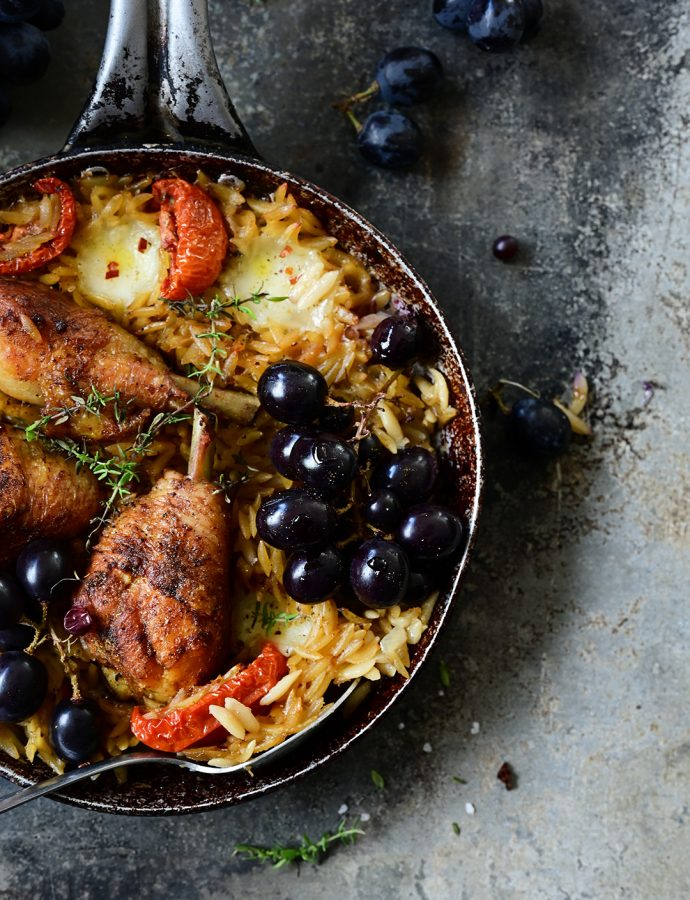 Roasted chicken with grapes and orzo