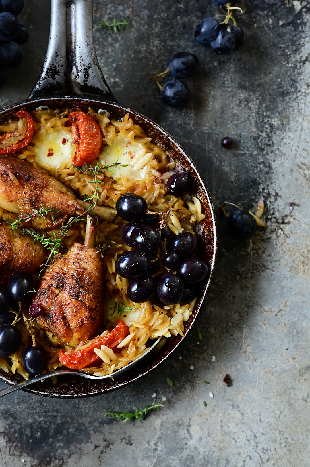 serving dumplings | Roasted chicken with grapes and orzo