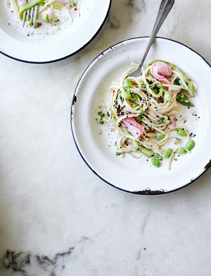Creamy tofu noodle salad