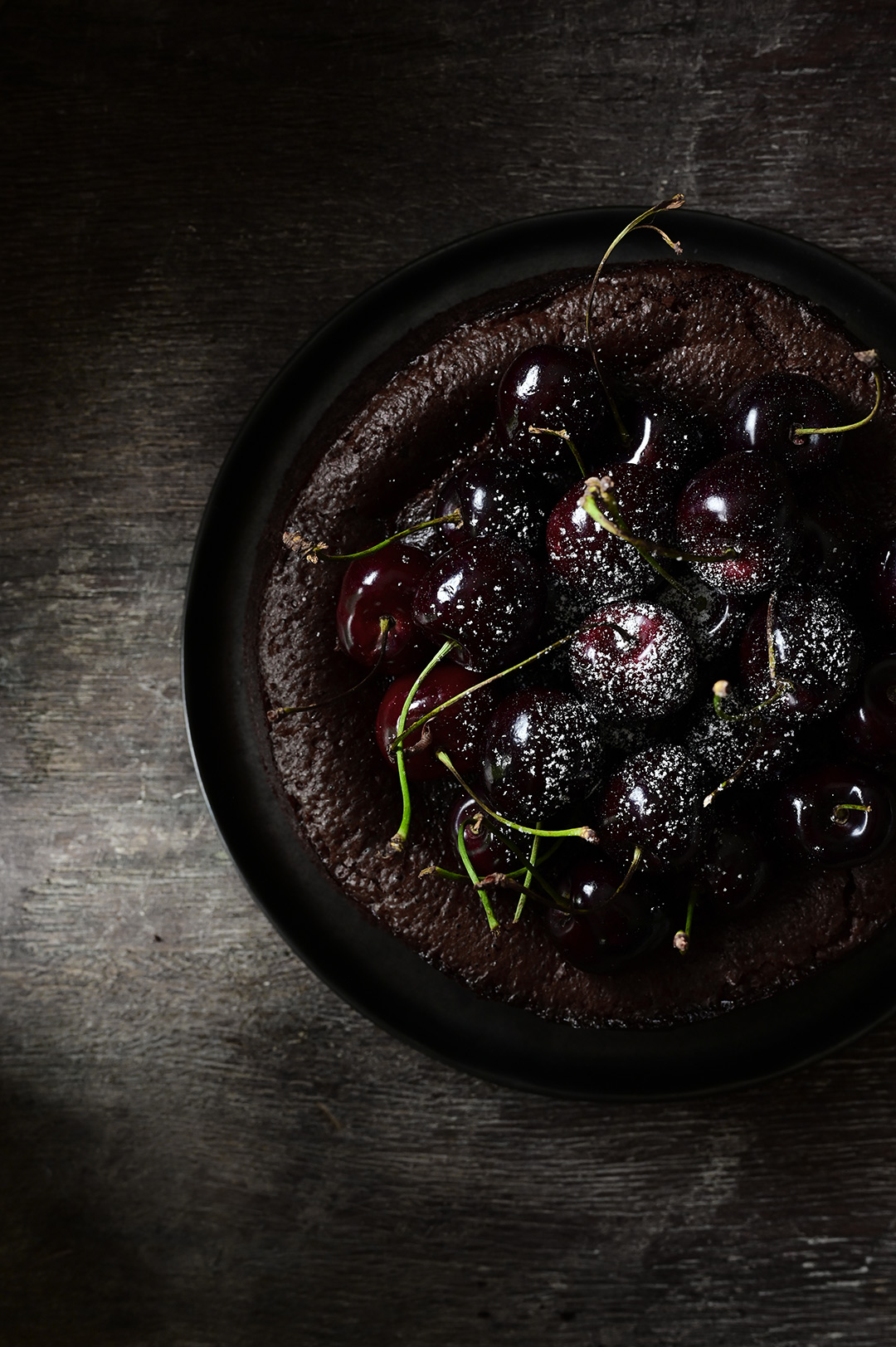 serving dumplings | Flourless chocolate cake with cherries