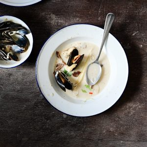 Creamy mussel soup with oyster mushrooms and miso aïoli